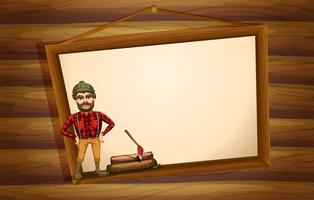 Een houthakker die voor het hangende lege bord staat