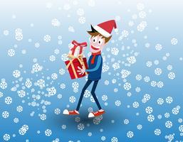 Vector illustratie van een schattige jongen blij met kerstcadeautjes