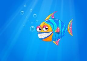 Een grote lachende vis in de oceaan vector