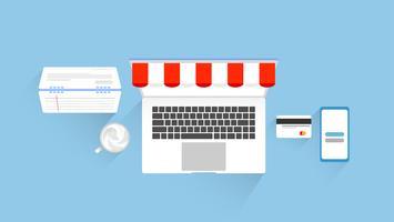 Online winkelen en marketing platte elementen ontwerp met werkplek. vectorillustratie