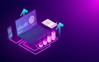 Applicatie en software Analyse trends en financiële strategie concept. Online statistieken en gegevensanalyse op laptop en mobiele telefoon. vectorillustratie