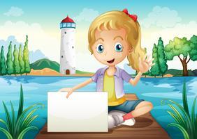 Een meisje dat bij de duikplank zit die lege signage houdt