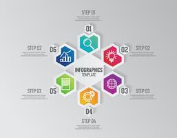 Zakelijke presentatie infographics sjabloon met 6 opties