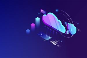 Cloud datacommunicatie isometrische concept. cloud online data-opslagtechnologie
