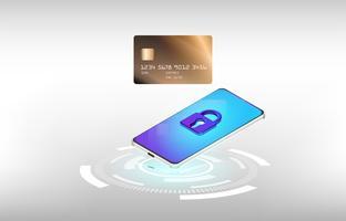 Vector van het gebruiken van creditcard online winkelend op smartphoneconcept op witte achtergrond.
