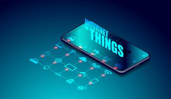 IOT internet of things over smartphone-applicaties, smartthings met elkaar verbonden en afstandsbediening via smartphone-apparaatvector