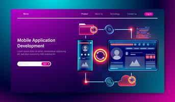 Ontwikkeling van mobiele applicatie concept, mobiele programmering codering multi-platform, UI UX ontwerp en web development Vector.