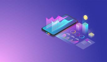 Mobiele gegevensanalyse, onderzoek, planning, statistieken, financieel, infographic, beheer vectorconcept. Vector