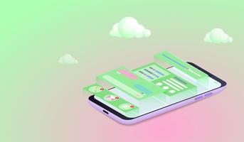 Mobiele applicatie ontwikkelingsconcept, Smartphone gebruikersinterface ontwerp vector