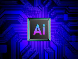 Artificial Intelligence CPU-processors concept, Ai computing met printplaat, machine learning vector