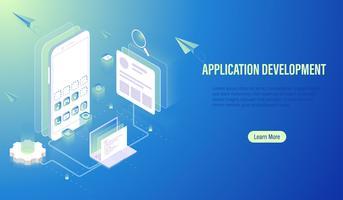 Mobiele applicatie ontwikkeling en UI UX ontwerp lay-out op scherm, programmeur codering, software bouwen door computer laptop en smartphone concept Vector.