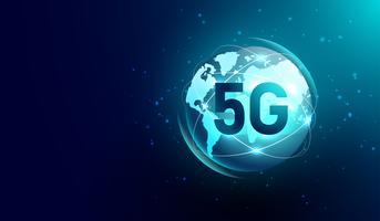 Nieuwe 5G internetcommunicatie, wereldwijd netwerk draadloos op de achtergrond van de wereldkaart. Deel van dit beeld geleverd door Nasa vector