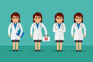 Vrouwelijke arts ingesteld vector
