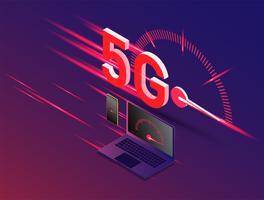 vector van de nieuwe 5e generatie van internet concept, snelheid van 5G-netwerk internet draadloos.
