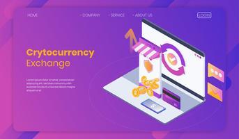 Online Crytocurrency Exchange Concept, gedecentraliseerde en gecentraliseerde uitwisseling met bescherming, bitcoin trading design, vector