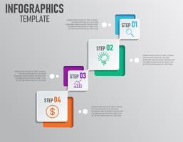 Moderne infographics van bedrijfspresentatie met stap en 4 opties