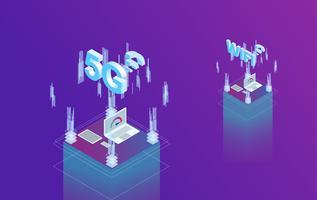 Internet van dingen 3d isometrisch vlak ontwerp vector
