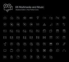 Multimedia en muziek Pixel Perfect Icons (lijnstijl) Shadow Edition. vector