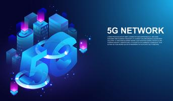 5G netwerk draadloos systeem, 5e internet telecommunicatie op slimme stad concept Vector.