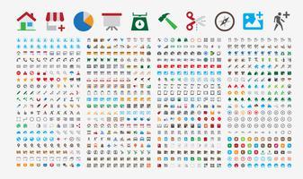 800 premium pictogrammen. Ronde hoeken. Vlakke kleuren. vector
