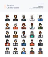Gedetailleerde Vector Color Line Icons Set van mensen en Avatar. 64x64 pixel Perfecte en bewerkbare beroerte.