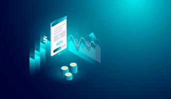 Cryptocurrency-mijnbouw op smartphoneconcept, online trading en exchange bitcoin. vector