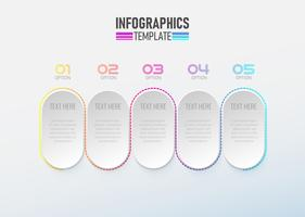 Infographic element 3d met cirkel optie 1 tot 5 vector.