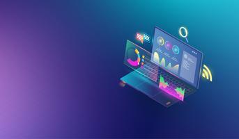 Financiële analytische en zakelijke infographic elementen op scherm laptop concept. Isometrische reeks van infographics met gegevens financiële grafieken of diagrammen en statistiek van informatiegegevens Vector. vector