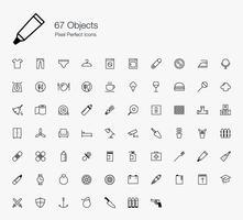67 objecten Pixel perfecte pictogrammen Lijnstijl.