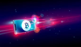 Cryptocurrency kopen of handelen op vliegende smartphone, bijten munt portemonnee en blockchain achtergrond Vector.