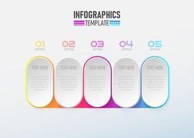 Infographic element 3d met cirkel optie 1 tot 5 vector. vector