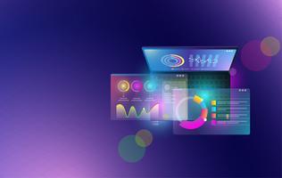 Financiële analytische en zakelijke infographic elementen op scherm laptop concept. Isometrische reeks van infographics met gegevens financiële grafieken of diagrammen en statistiek van informatiegegevens Vector.