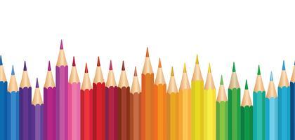 Crayon achtergrond. Kleurrijk potlood naadloos grenspatroon. vector