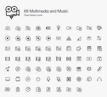 68 Multimedia en muziek Pixel Perfect Icons Lijnstijl. vector