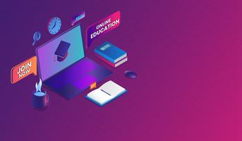Vector online onderwijs met laptop Concept, e-learning, online opleiding, isometrisch ontwerp.