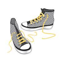 Sneakers geïsoleerd. Gedessineerde sportschoenen van de stoffenmanier vector