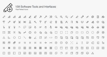 158 Softwarehulpmiddelen en interfaces Pixel Perfect Icons Lijnstijl. vector