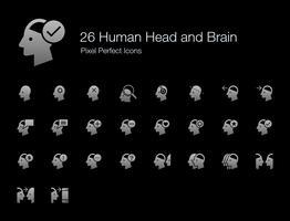 26 Pictogrammen voor menselijke hoofd- en breinpixels (versie met gevulde stijlschaduw). vector