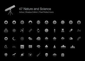 47 Natuur en wetenschap Pixel Perfect-pictogrammen (Filled Style Shadow Edition).