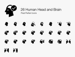 26 Pictogrammen voor menselijke hoofd- en hersenpixels (gevulde stijl). vector