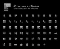 58 Hardware en apparaten Pixel Perfect-pictogrammen (Filled Style Shadow Edition). vector