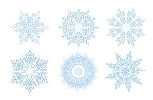 Zaai is ingesteld. Sneeuwvlok wintervakantie kanten teken. Wenskaart decor vector