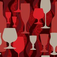 Wijnglas naadloze patroon. Cocktail party achtergrond. Bar inrichting