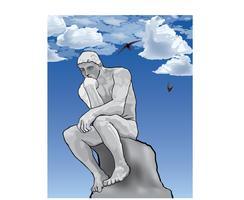Denker man concept. Het denkerstandbeeld van de Franse beeldhouwer Rodin.