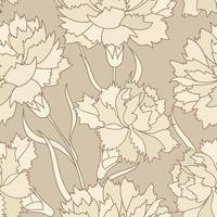 Bloemen retro naadloos patroon. Bloem gegraveerde achtergrond. vector