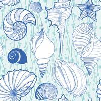 Zeeschelp naadloze patroon. Zomervakantie mariene achtergrond
