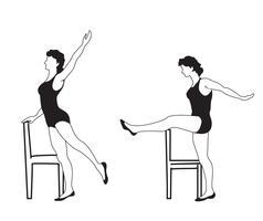 Elegante vrouwensilhouetten die geschiktheidsoefeningen doen. Fitness club icon set, vector