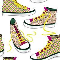 Sneakers tegel achtergrond. Verschillende sportschoenen naadloze patroon vector