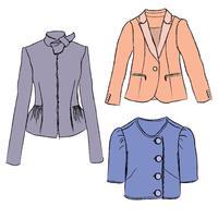 Mode doek set Dames jas kleding Dames truien winterkleding vector