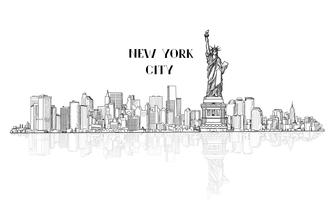 New York, Verenigde Staten skyline stad silhouet met Liberty monument vector